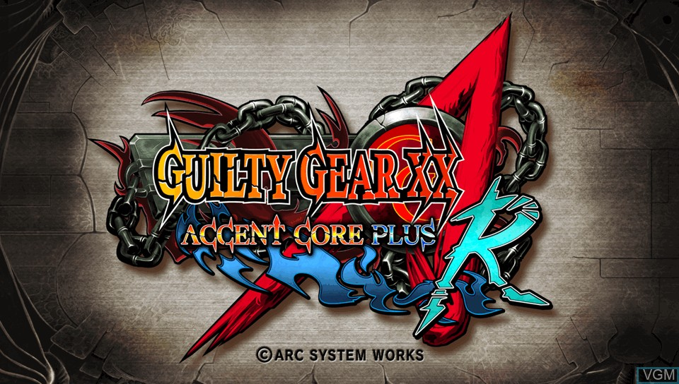 Title screen of the game Guilty Gear XX Accent Core Plus R on Sony PS Vita