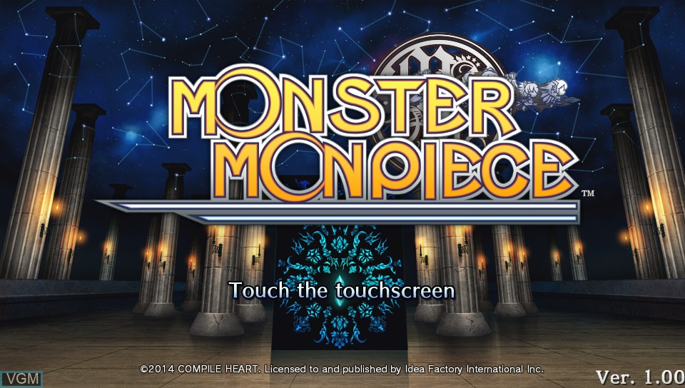 Title screen of the game Monster Monpiece on Sony PS Vita