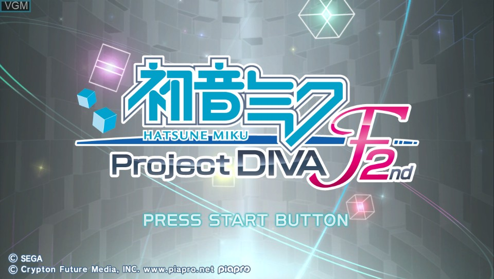 Title screen of the game Hatsune Miku - Project Diva F 2nd on Sony PS Vita