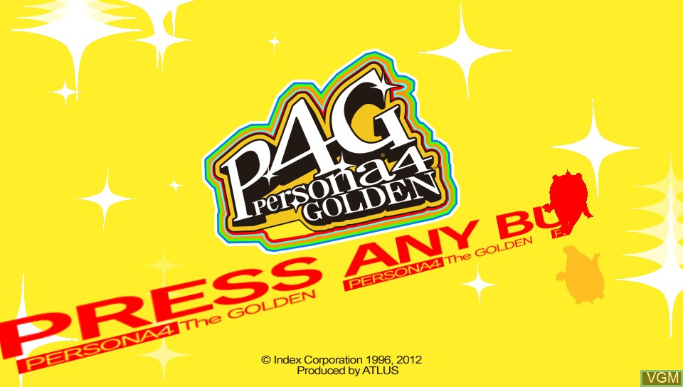 Title screen of the game Persona 4 Golden on Sony PS Vita