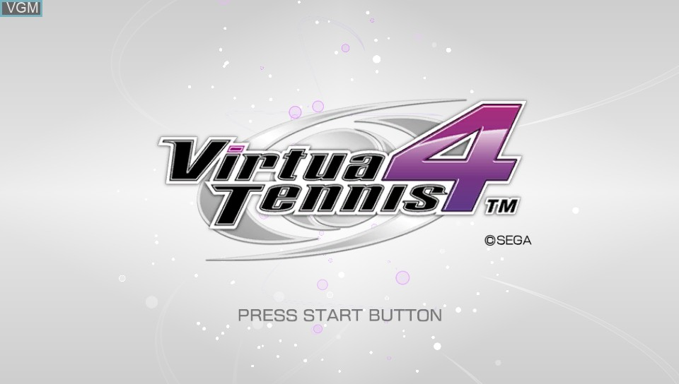 Title screen of the game Virtua Tennis 4 - World Tour Edition on Sony PS Vita