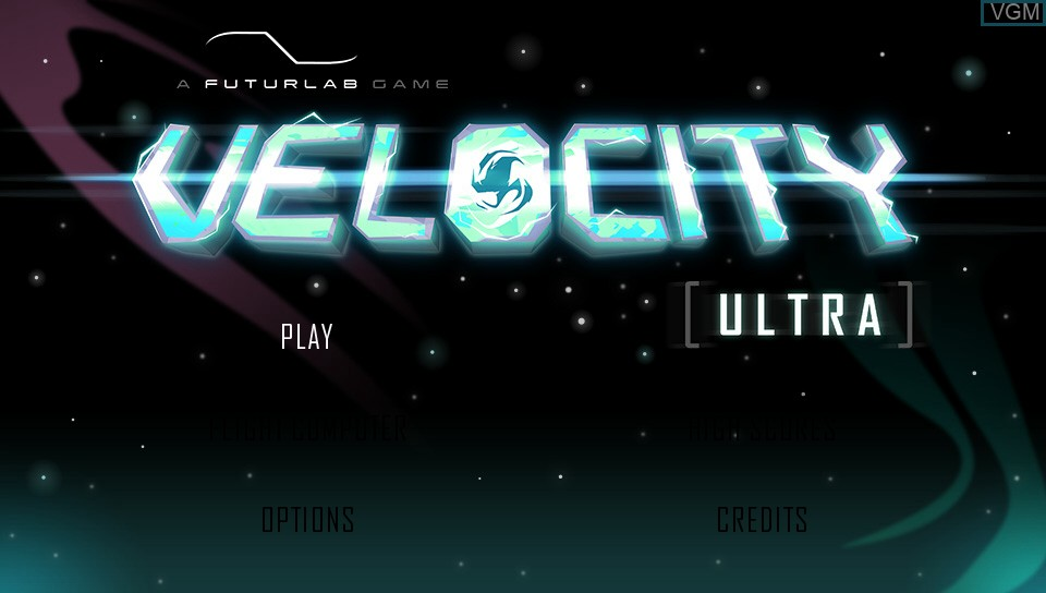 Title screen of the game Velocity Ultra on Sony PS Vita
