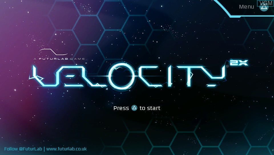 Title screen of the game Velocity 2X on Sony PS Vita