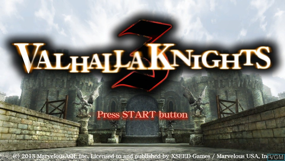 Title screen of the game Valhalla Knights 3 on Sony PS Vita