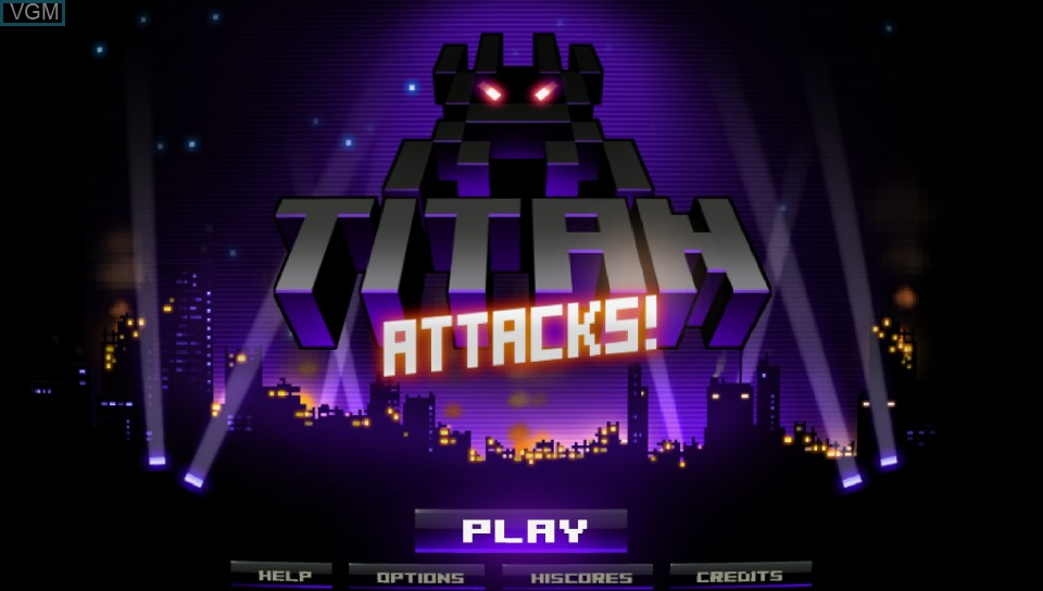 Title screen of the game Titan Attacks! on Sony PS Vita