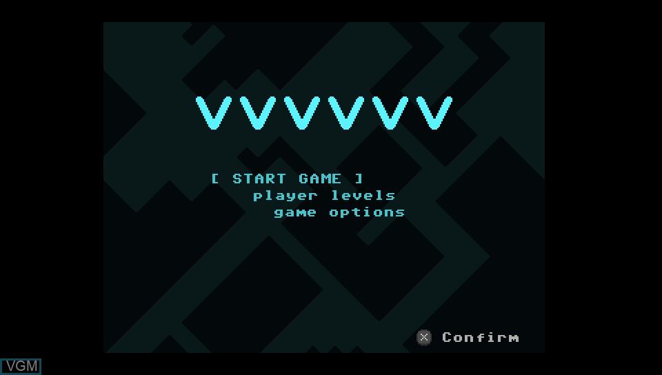 Title screen of the game VVVVVV on Sony PS Vita