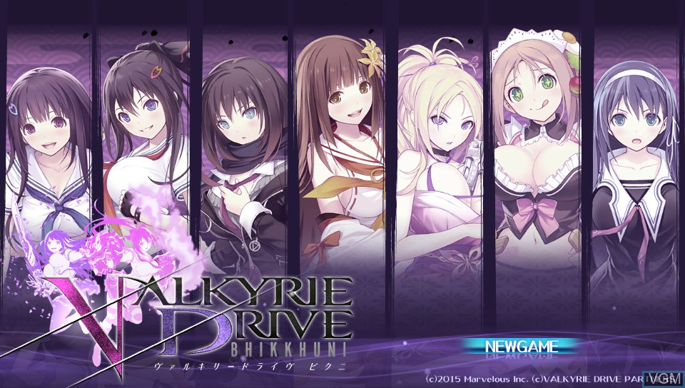 Title screen of the game Valkyrie Drive - Bhikkhuni on Sony PS Vita
