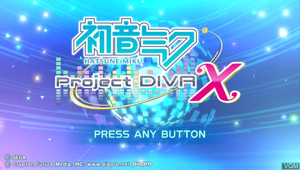 Title screen of the game Hatsune Miku - Project Diva X on Sony PS Vita