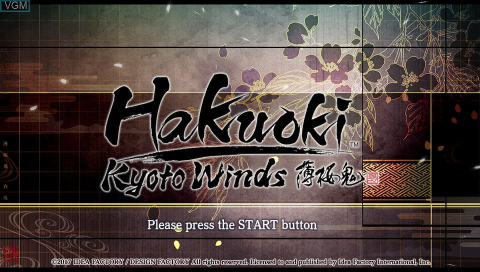 Title screen of the game Hakuoki - Kyoto Winds on Sony PS Vita