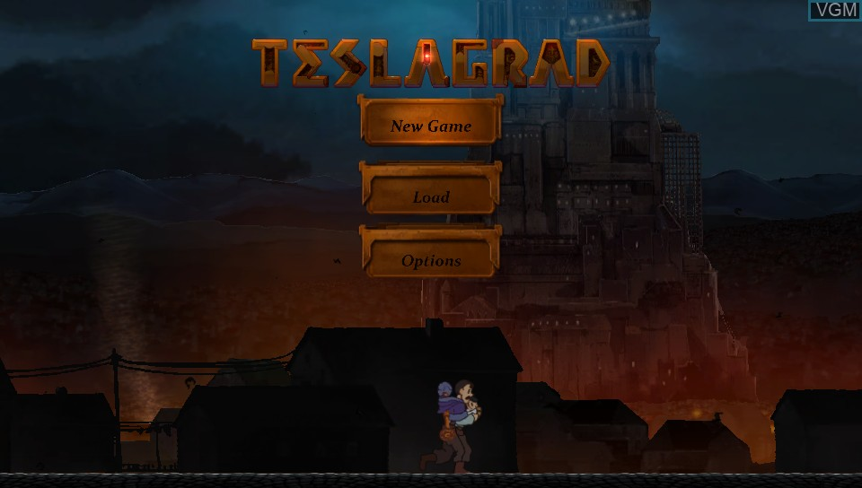 Title screen of the game Teslagrad on Sony PS Vita