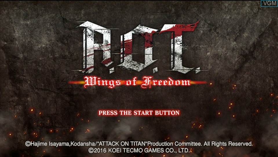 Title screen of the game A.O.T. Wings of Freedom on Sony PS Vita