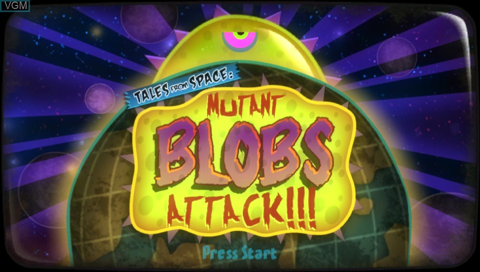 Title screen of the game Tales From Space - Mutant Blobs Attack on Sony PS Vita