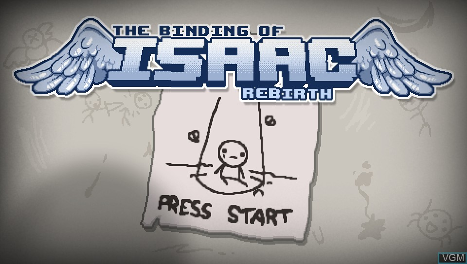 Title screen of the game Binding of Isaac, The - Rebirth on Sony PS Vita