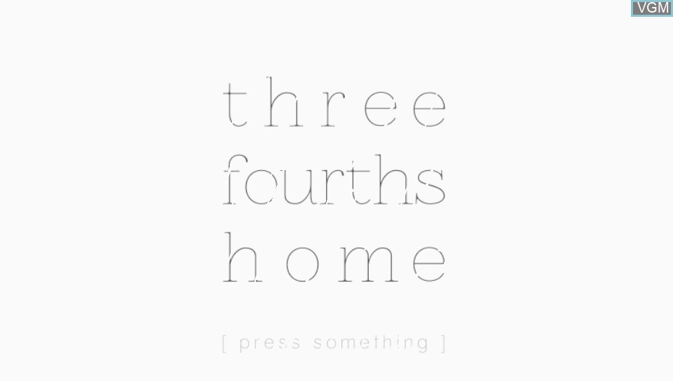 Title screen of the game Three Fourths Home - Extended Edition on Sony PS Vita