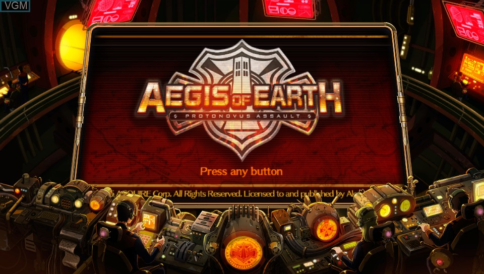 Title screen of the game Aegis of Earth - Protonovus Assault on Sony PS Vita