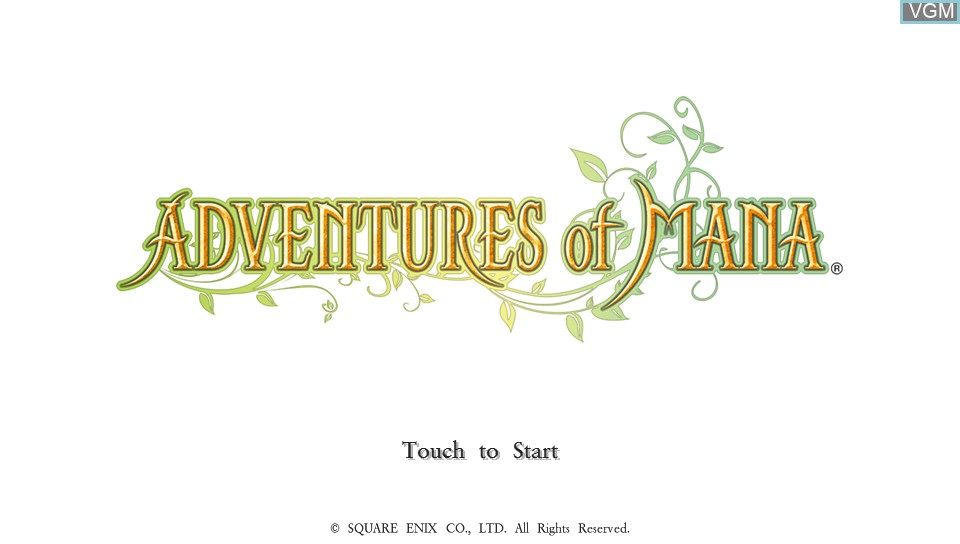 Title screen of the game Adventures of Mana on Sony PS Vita