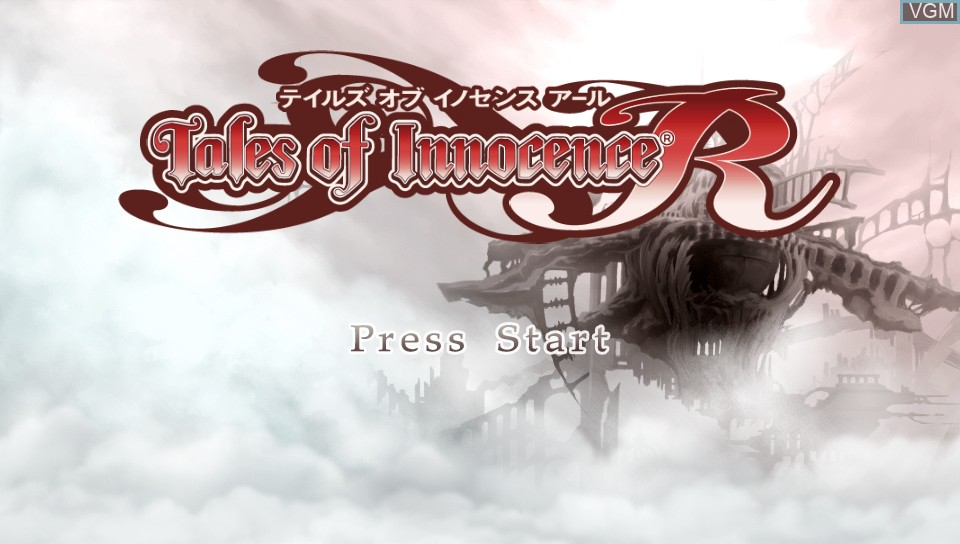 Title screen of the game Tales of Innocence R on Sony PS Vita