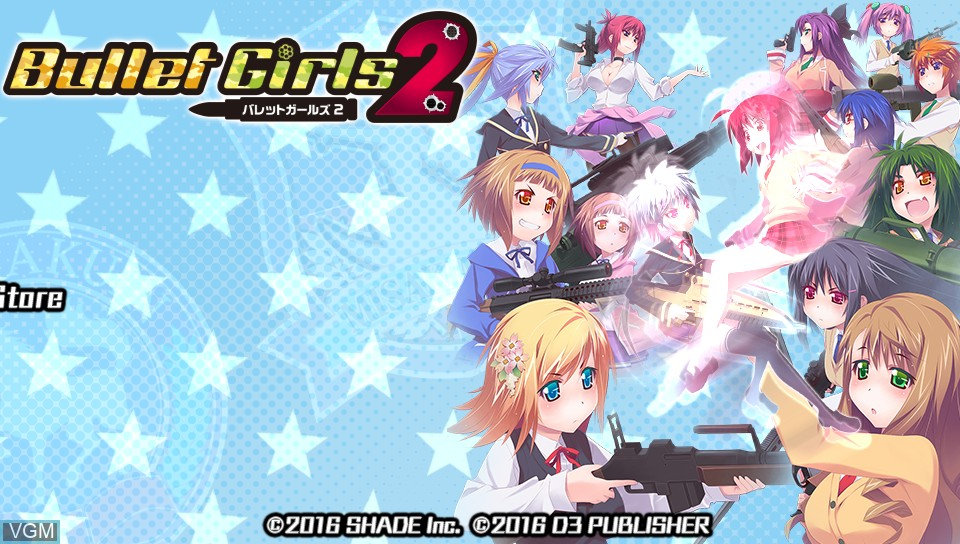Title screen of the game Bullet Girls 2 on Sony PS Vita