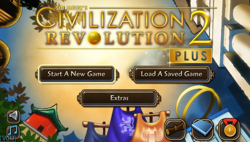 Title screen of the game Sid Meier's Civilization Revolution 2+ on Sony PS Vita