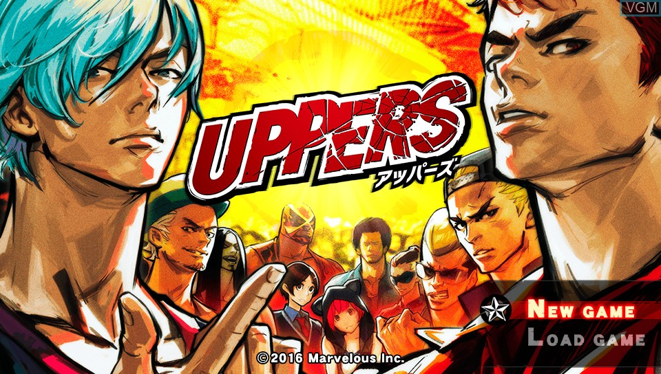 Title screen of the game Uppers on Sony PS Vita