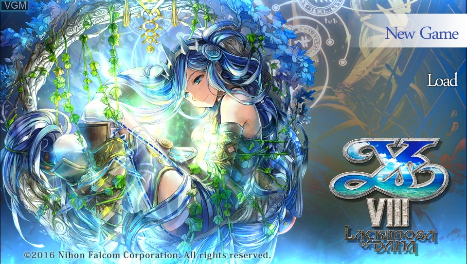 Title screen of the game Ys VIII - Lacrimosa of DANA on Sony PS Vita