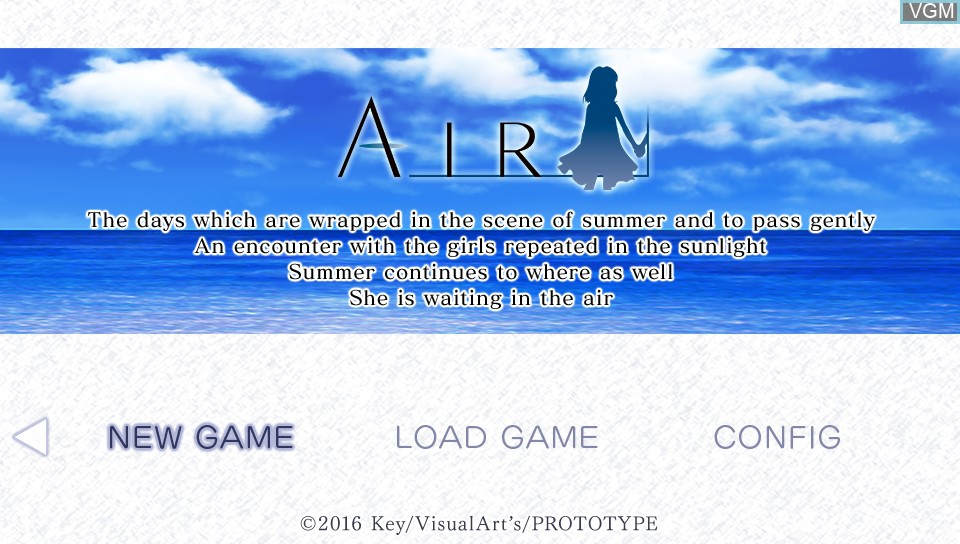 Title screen of the game Air on Sony PS Vita