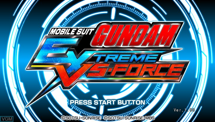 Title screen of the game Mobile Suit Gundam - Extreme VS-Force on Sony PS Vita