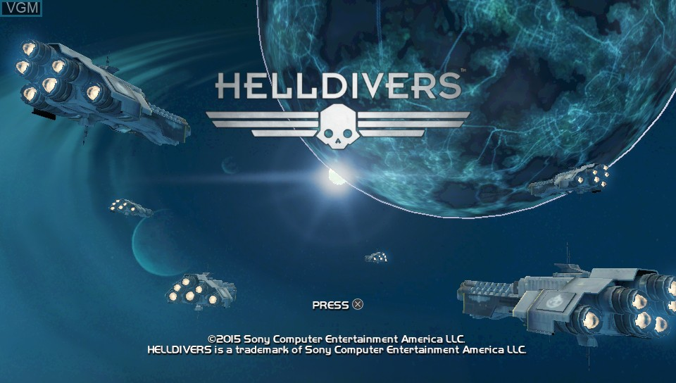 Title screen of the game Helldivers on Sony PS Vita