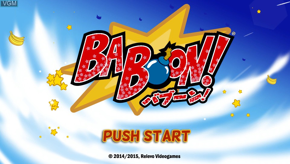 Title screen of the game Baboon! on Sony PS Vita