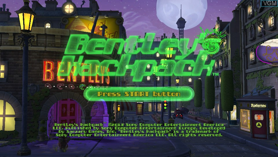 Title screen of the game Bentley's Hackpack on Sony PS Vita