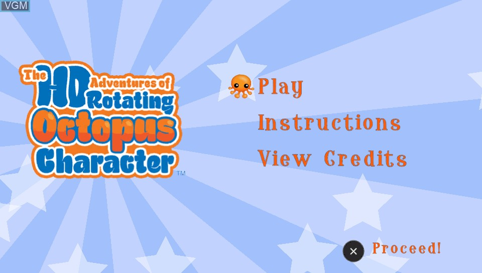 Title screen of the game HD Adventures of Rotating Octopus Character, The on Sony PS Vita