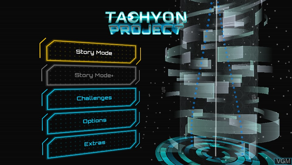 Title screen of the game Tachyon Project on Sony PS Vita