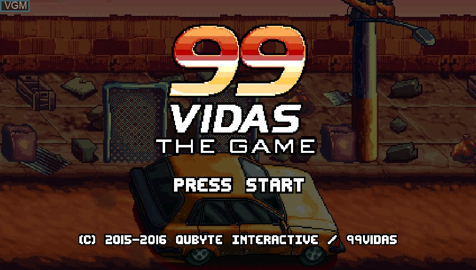Title screen of the game 99Vidas on Sony PS Vita