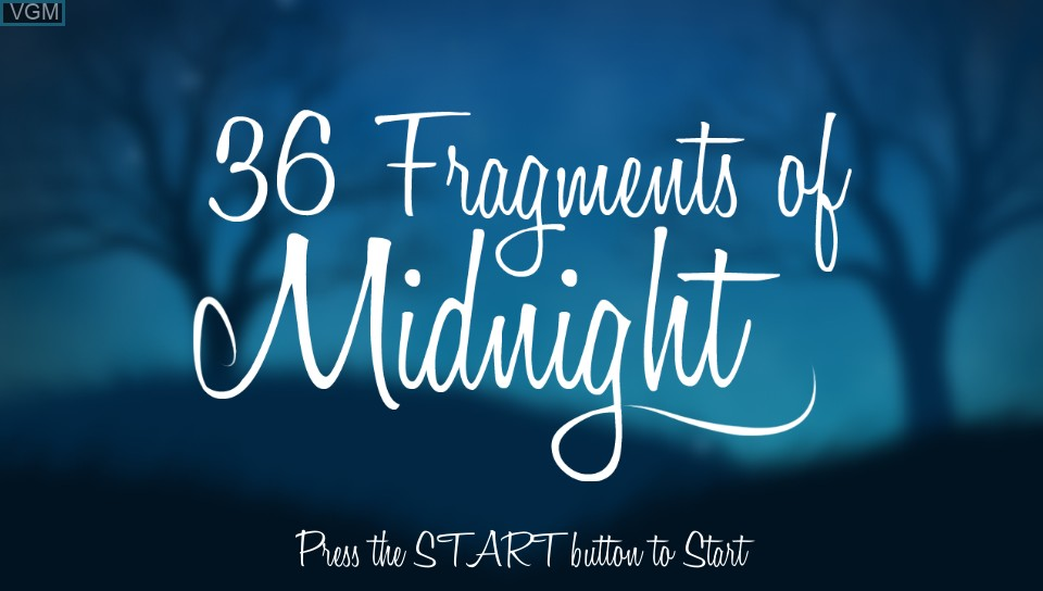 Title screen of the game 36 Fragments of Midnight on Sony PS Vita