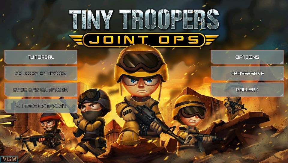 Title screen of the game Tiny Troopers - Joint Ops on Sony PS Vita