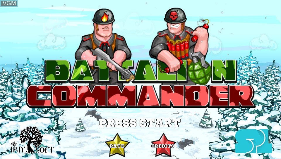 Title screen of the game Battalion Commander on Sony PS Vita