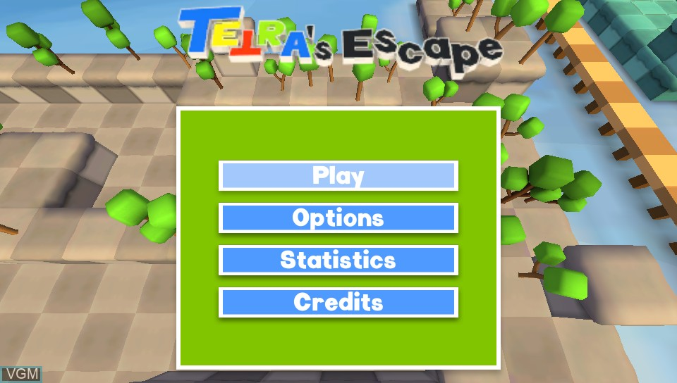 Title screen of the game TETRA's Escape on Sony PS Vita