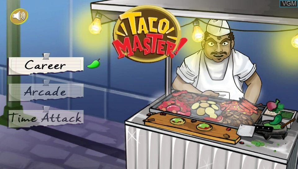 Title screen of the game Taco Master on Sony PS Vita