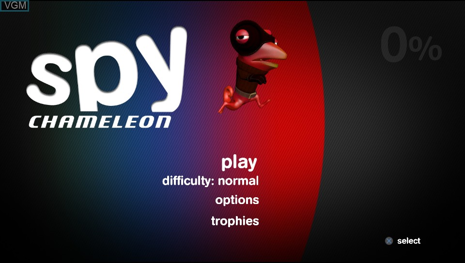 Title screen of the game Spy Chameleon on Sony PS Vita