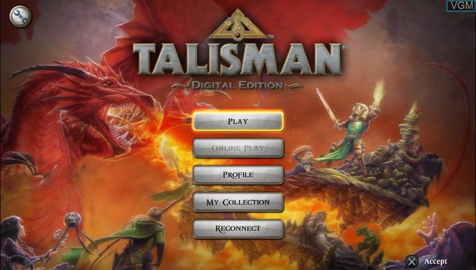 Title screen of the game Talisman - Digital Edition on Sony PS Vita