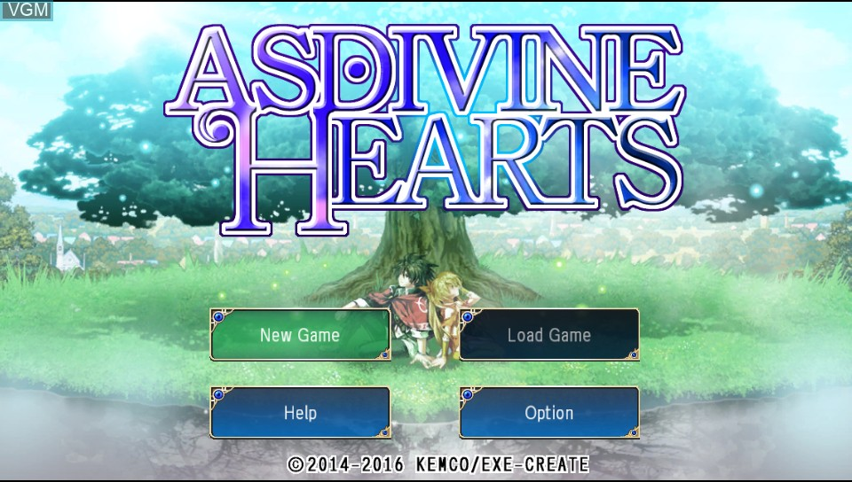 Title screen of the game Asdivine Hearts on Sony PS Vita