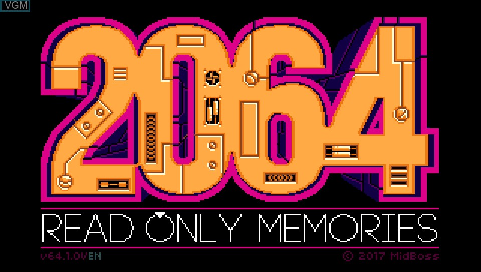 Title screen of the game 2064 - Read Only Memories on Sony PS Vita