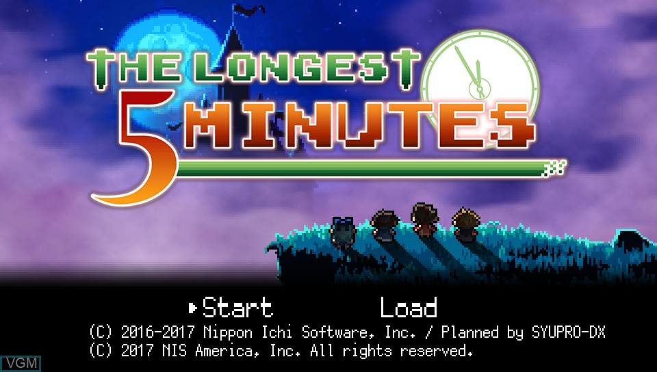 Title screen of the game Longest Five Minutes, The on Sony PS Vita