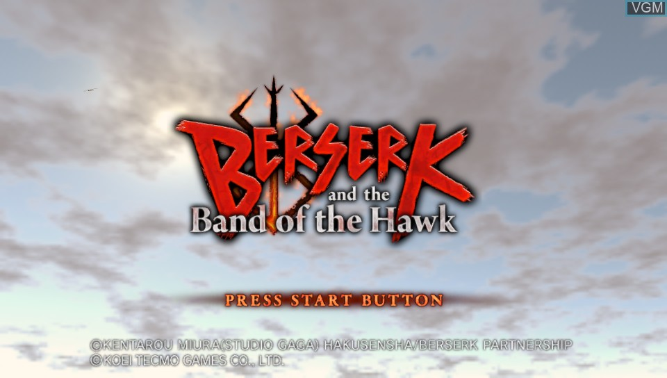 Title screen of the game Berserk and the Band of the Hawk on Sony PS Vita