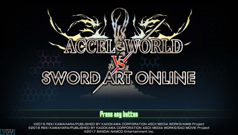 Title screen of the game Accel World vs. Sword Art Online - Millennium Twilight on Sony PS Vita