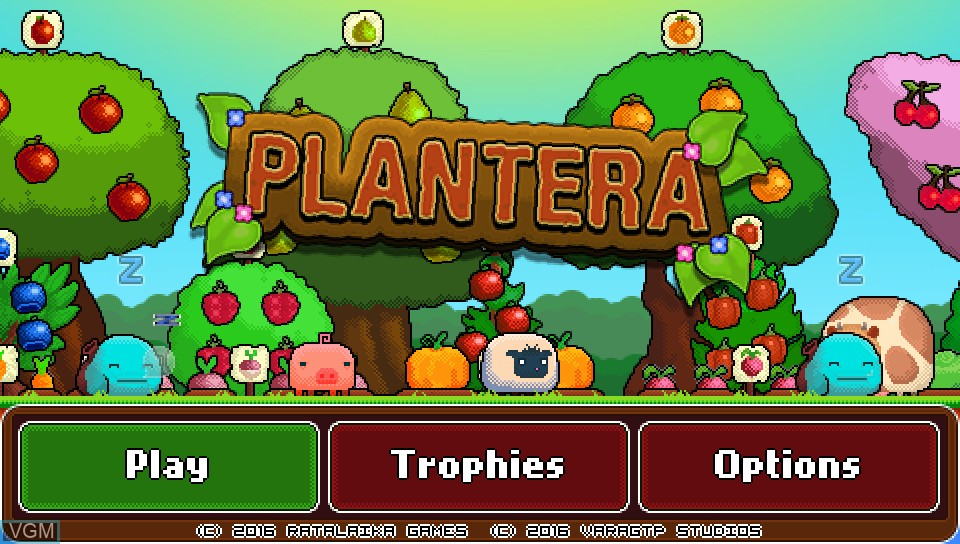 Title screen of the game Plantera on Sony PS Vita
