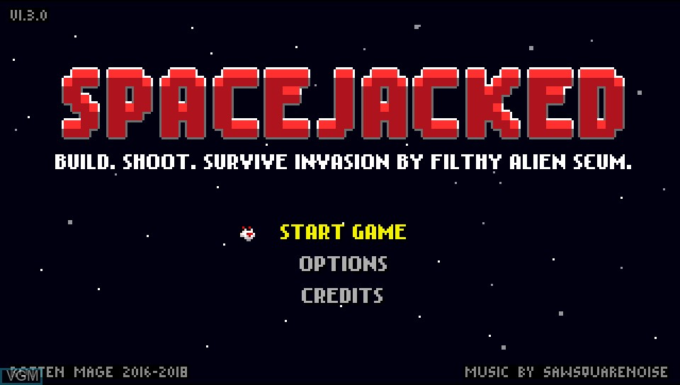 Title screen of the game Spacejacked on Sony PS Vita