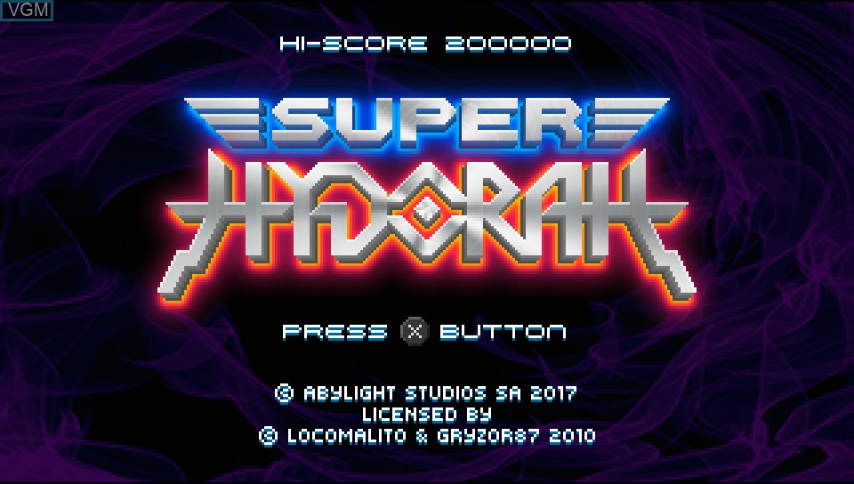 Title screen of the game Super Hydorah on Sony PS Vita