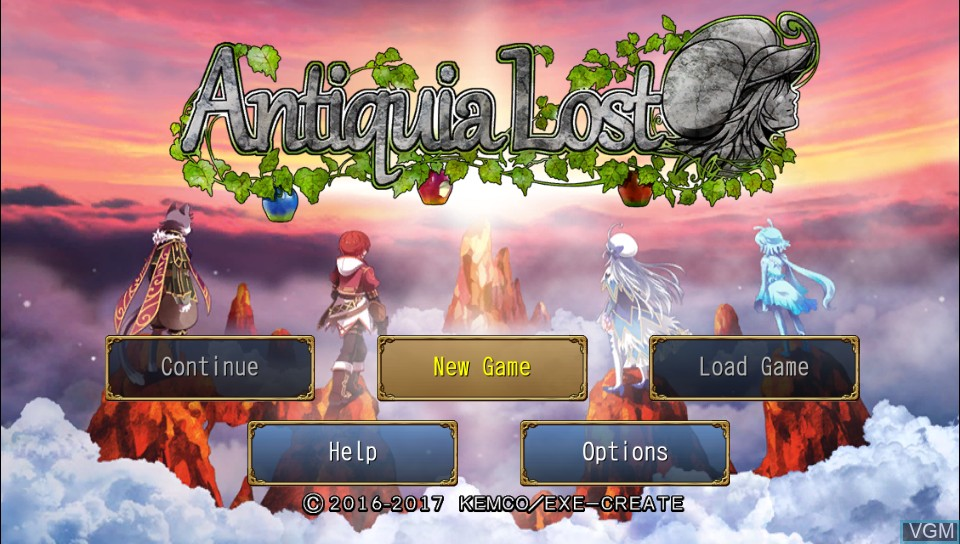 Title screen of the game Antiquia Lost on Sony PS Vita