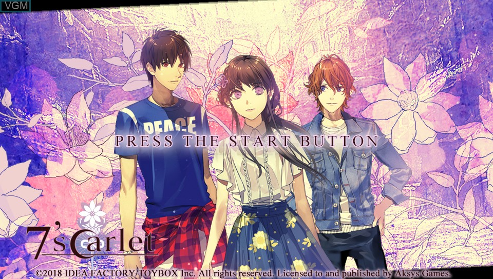 Title screen of the game 7'scarlet on Sony PS Vita